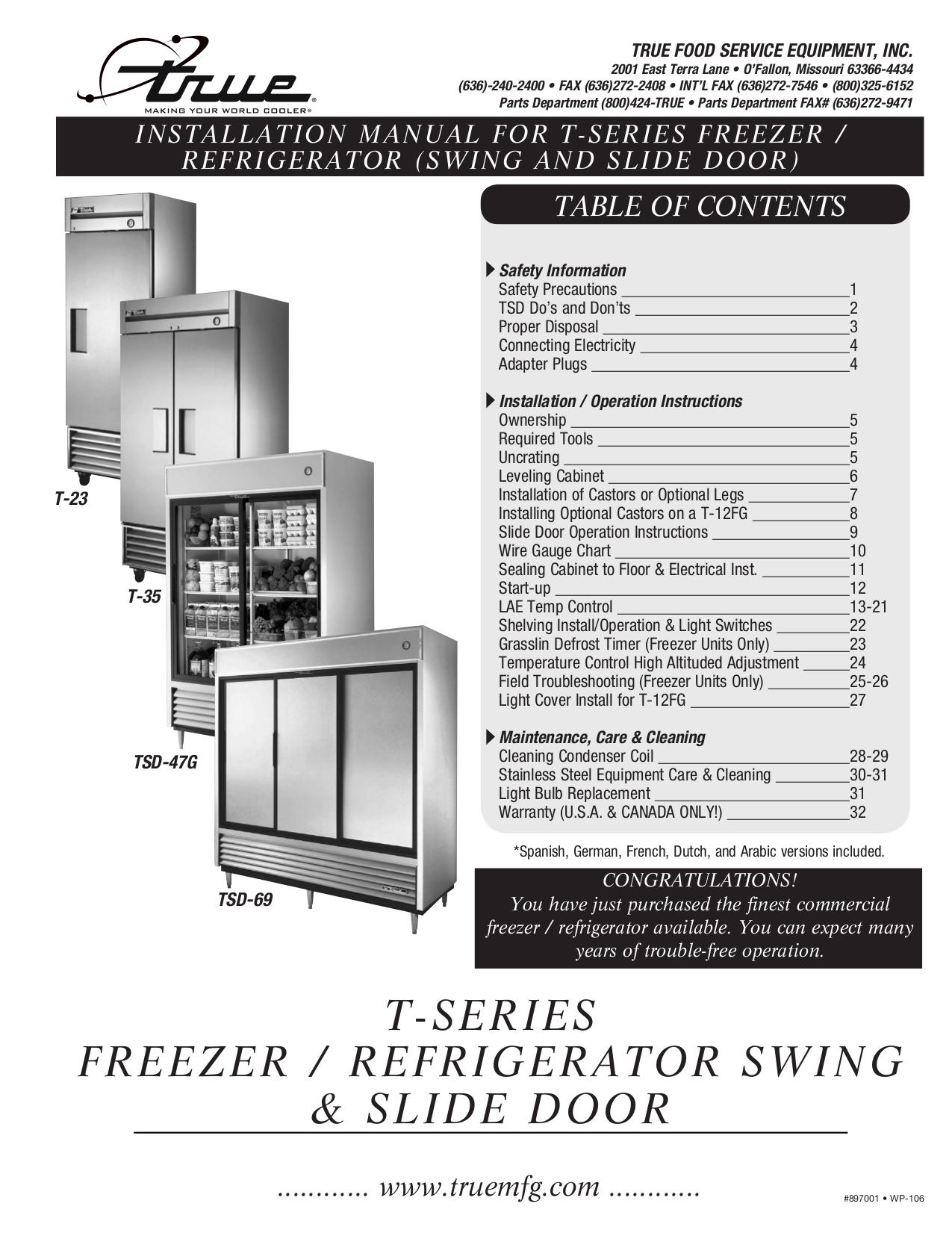 pdf for True Refrigerator T-72 manual