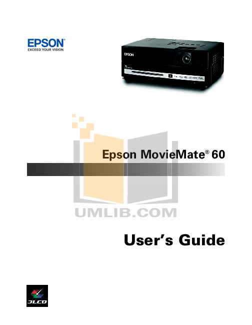 pdf for Epson Projector MovieMate 60 manual