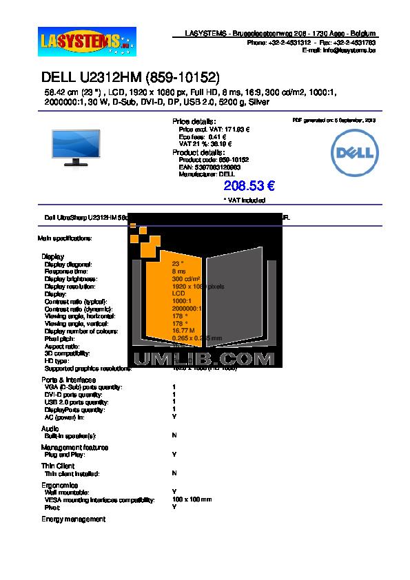 pdf for Dell Monitor U2312HM manual