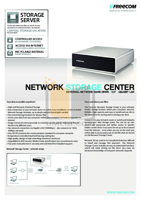 pdf for Freecom Storage Network Drive manual