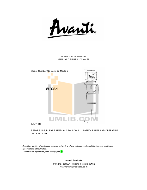 pdf for avanti other wd361 water dispenser manual