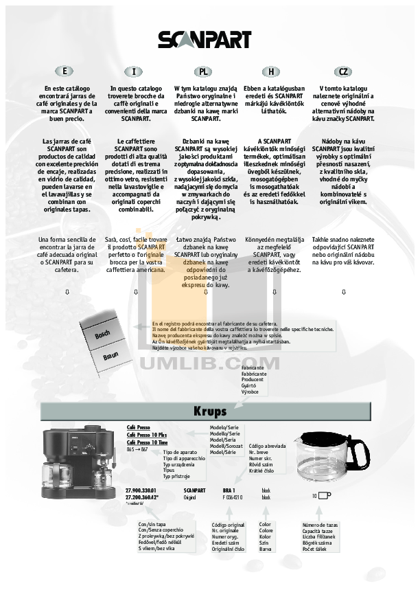 Braun Coffee Maker KF550 pdf page preview