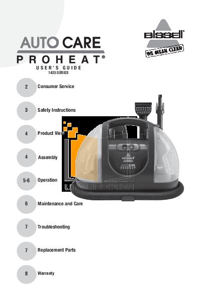 pdf for Bissell Vacuum 1425 manual