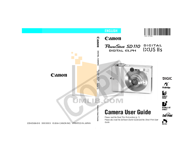 pdf for Canon Digital Camera Powershot SD110 manual