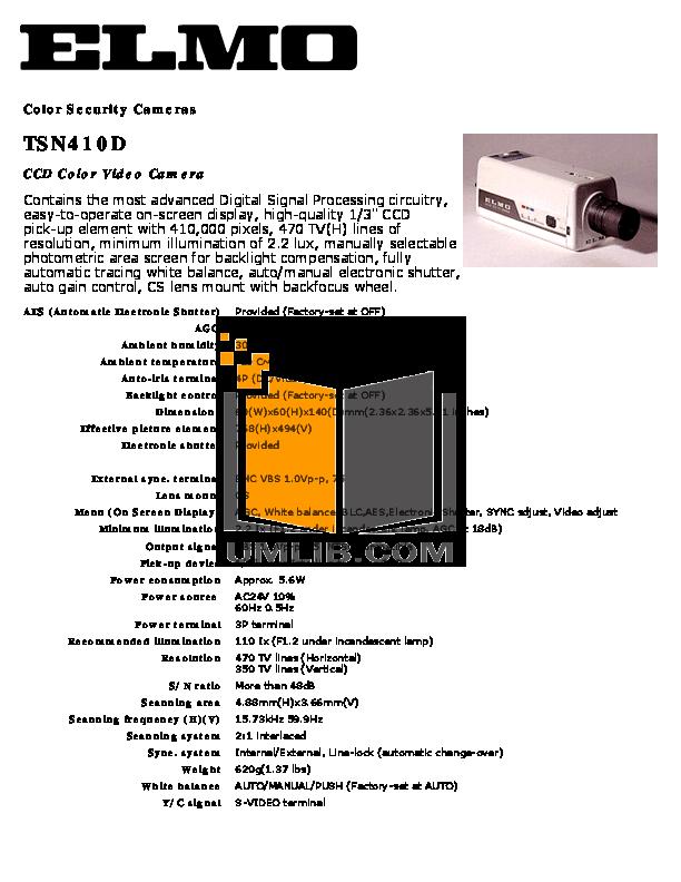 pdf for Elmo Security Camera TSN410D manual