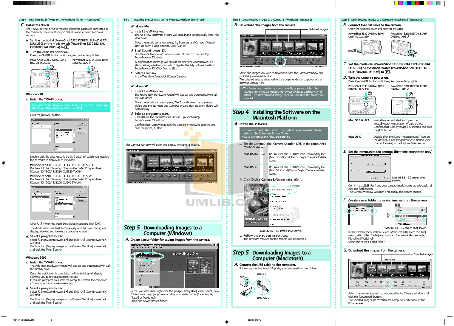 Canon Digital Camera IXUS 330 pdf page preview