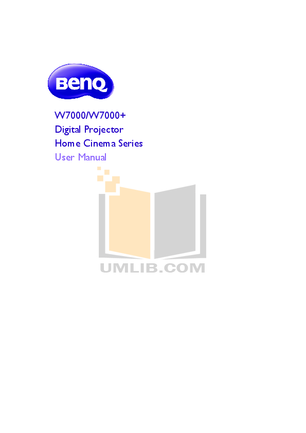 pdf for Benq Projector W7000 manual