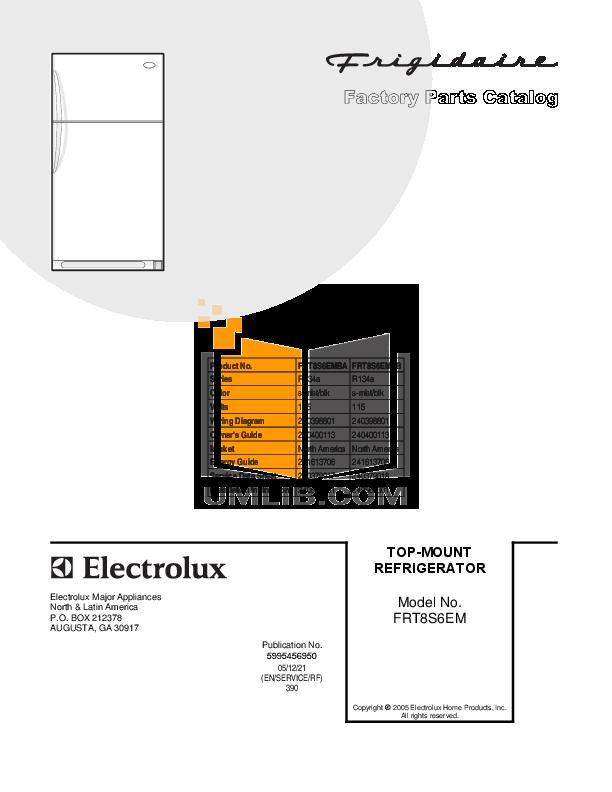 pdf for Frigidaire Refrigerator FRT8S6EMBB manual