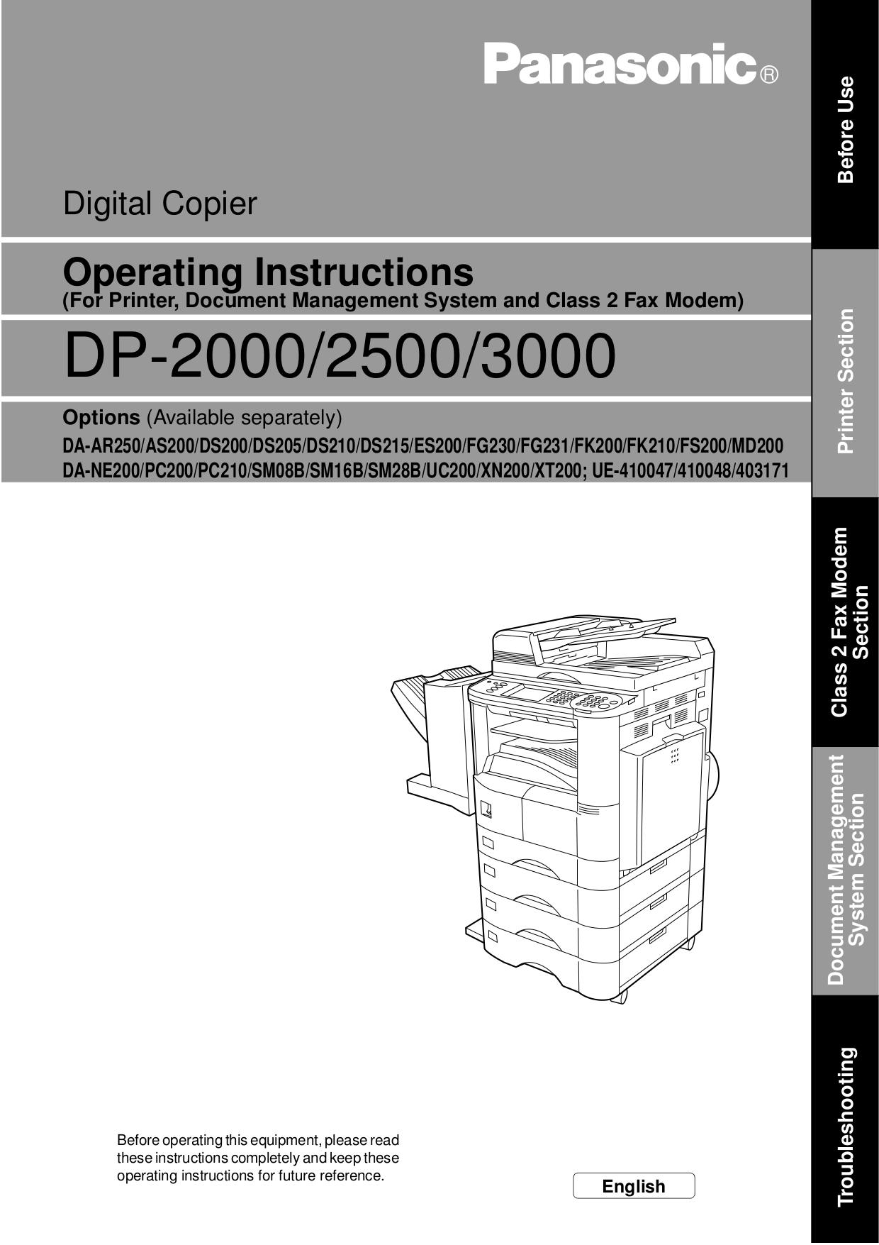 Инструкция для panasonic dp 1520p