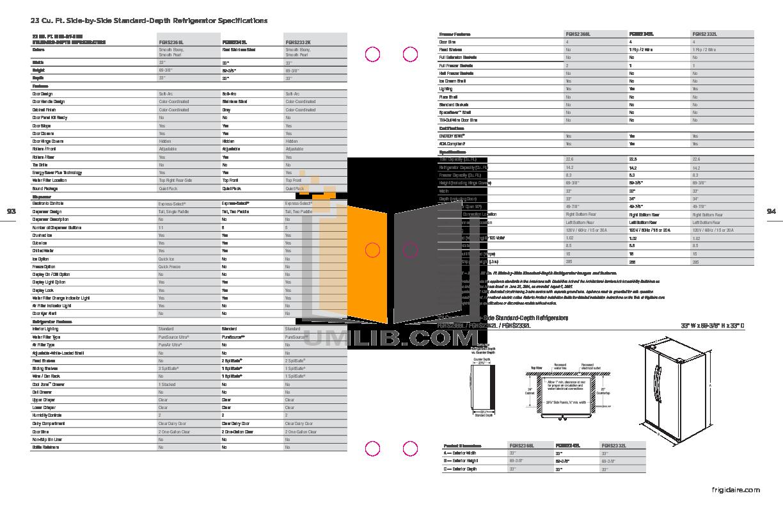 pdf for Frigidaire Refrigerator Gallery FGHS2332L manual
