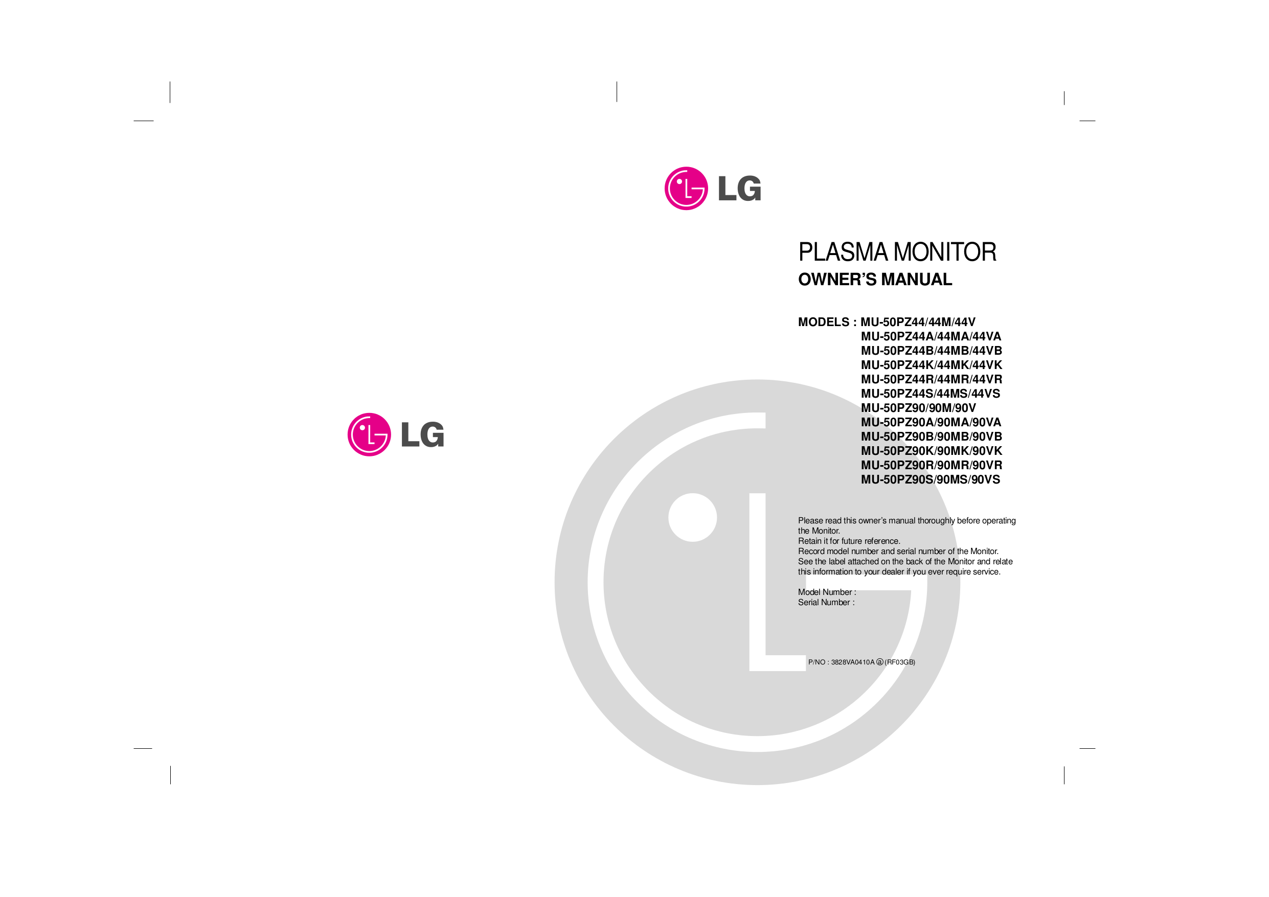 pdf for LG Monitor MU-50PZ44V manual