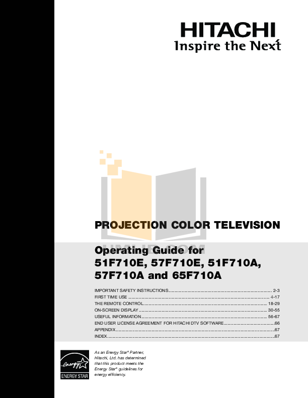 pdf for Hitachi TV 57F710E manual