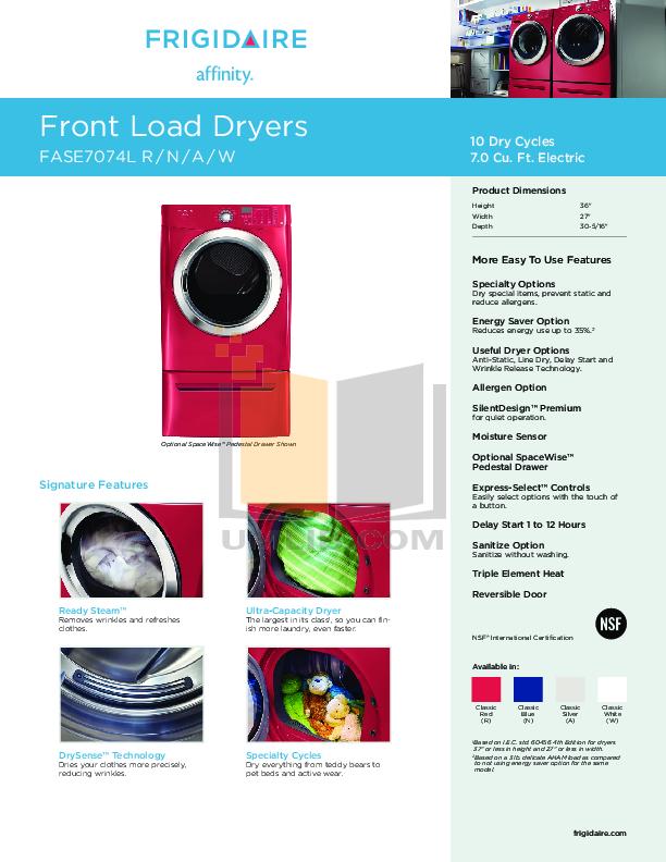pdf for Frigidaire Dryer Affinity FASE7074L manual