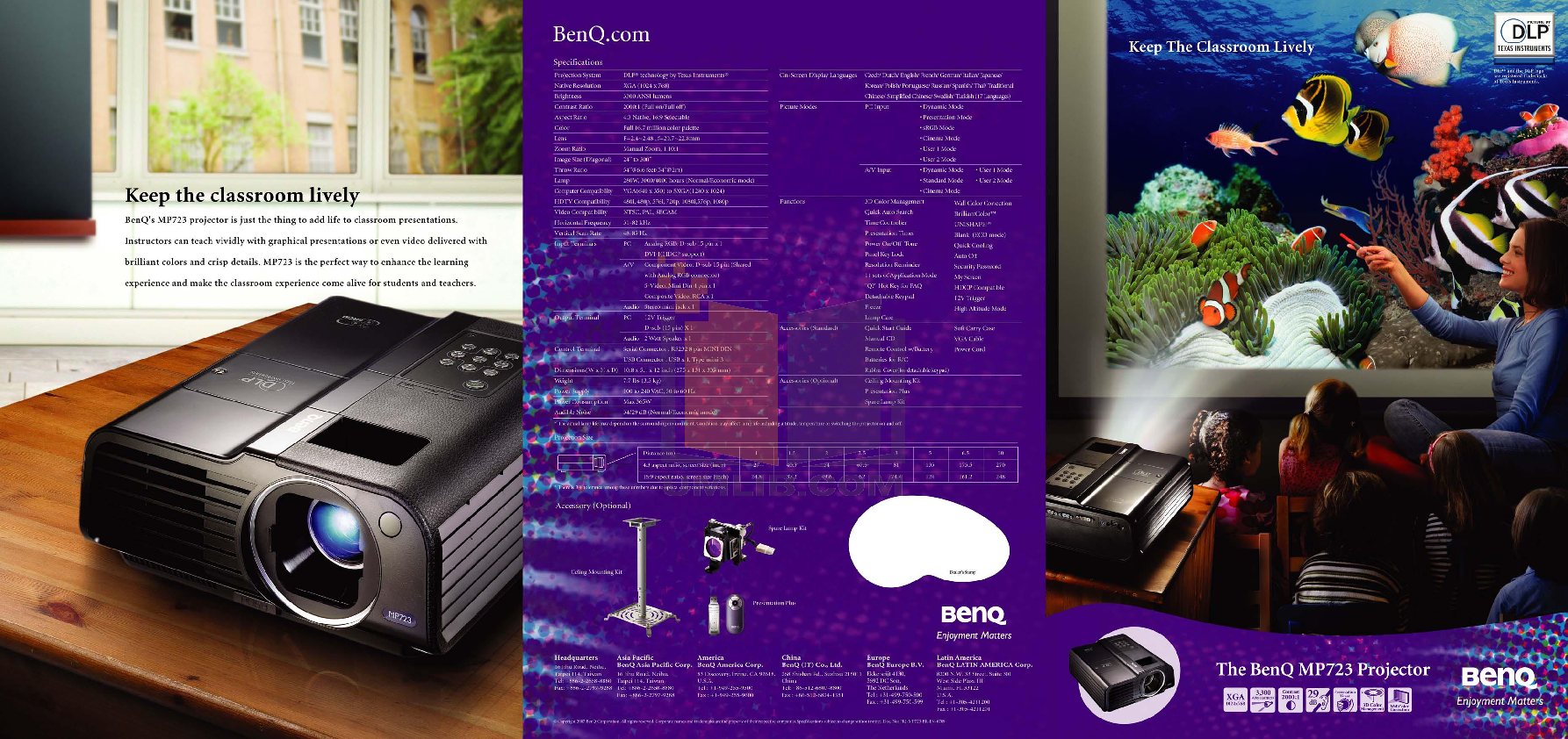 pdf for Benq Projector MP723 manual