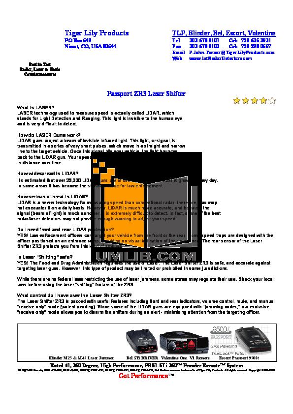 pdf for Escort Radar Detector Shifter ZR3 manual
