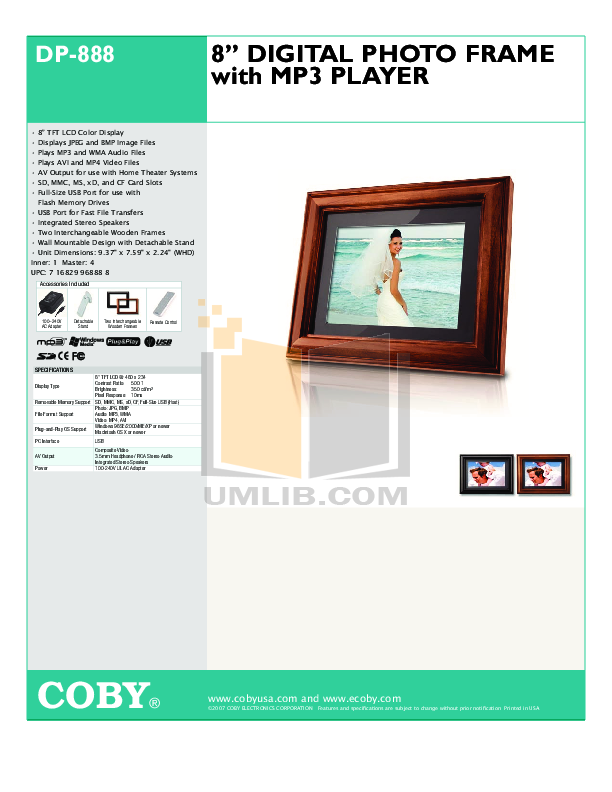 Download free pdf for Coby DP-350 Digital Photo Frame manual