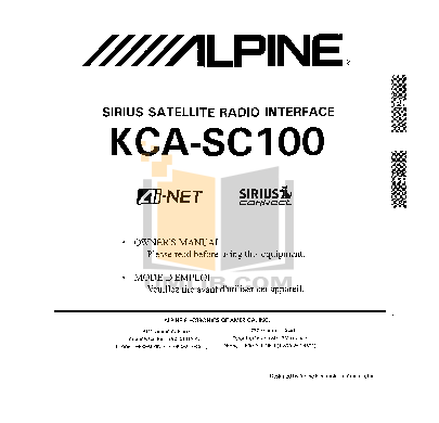 pdf for Alpine Car Video IVA-W200 manual