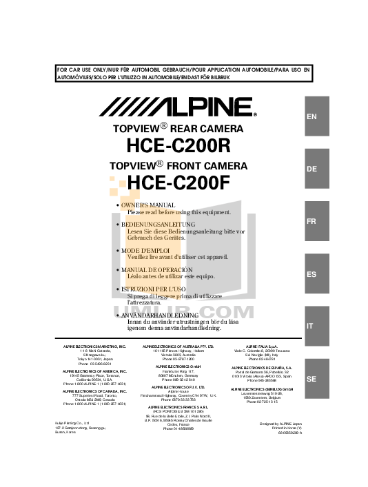 Alpine Car Video IVA-W200 pdf page preview