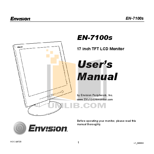 pdf for Envision Monitor EN7100si manual