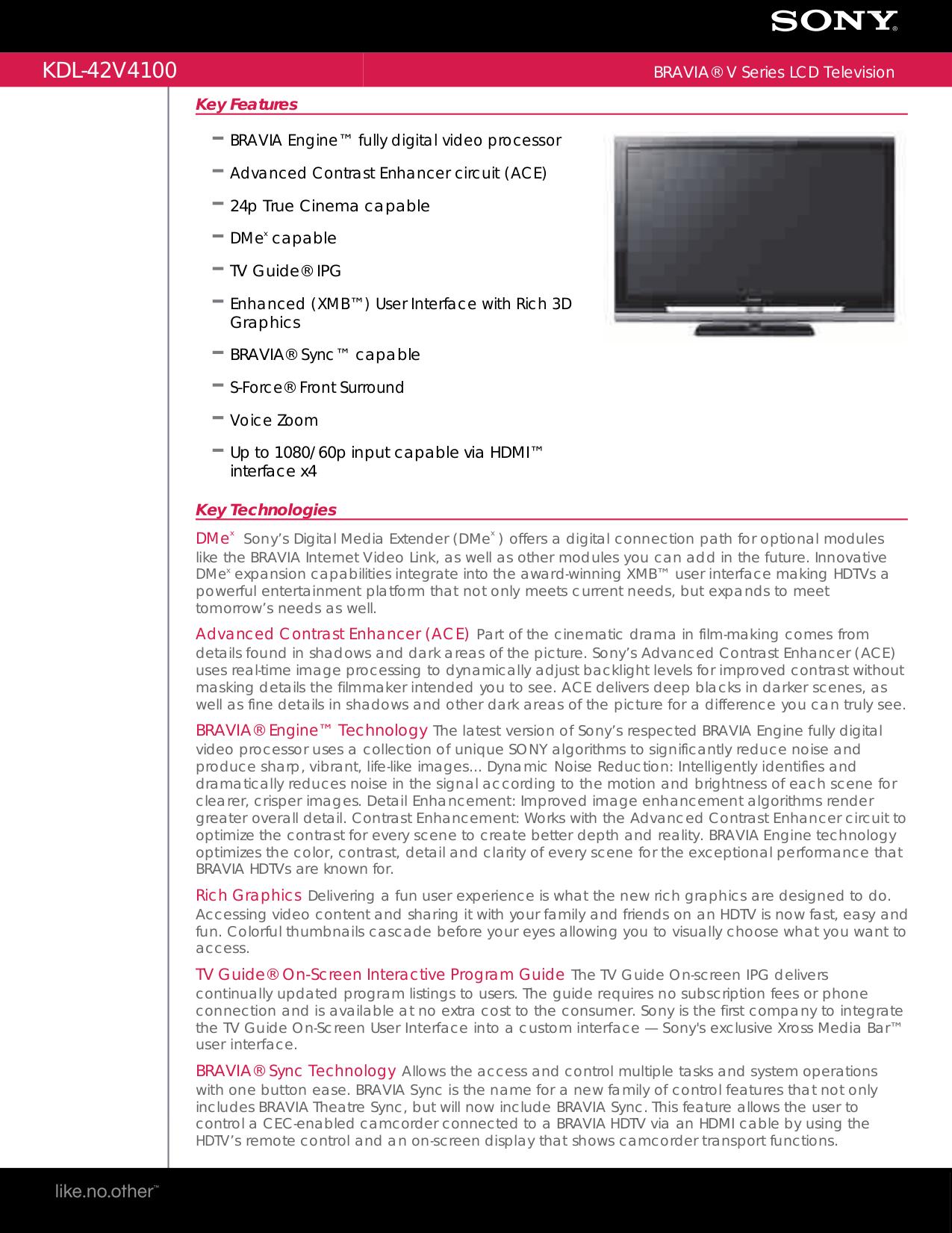 download free pdf for sony bravia kdl 42v4100 tv manual rh umlib com Sony KDL 42V4100 Power Sony BRAVIA 42 Inch TV