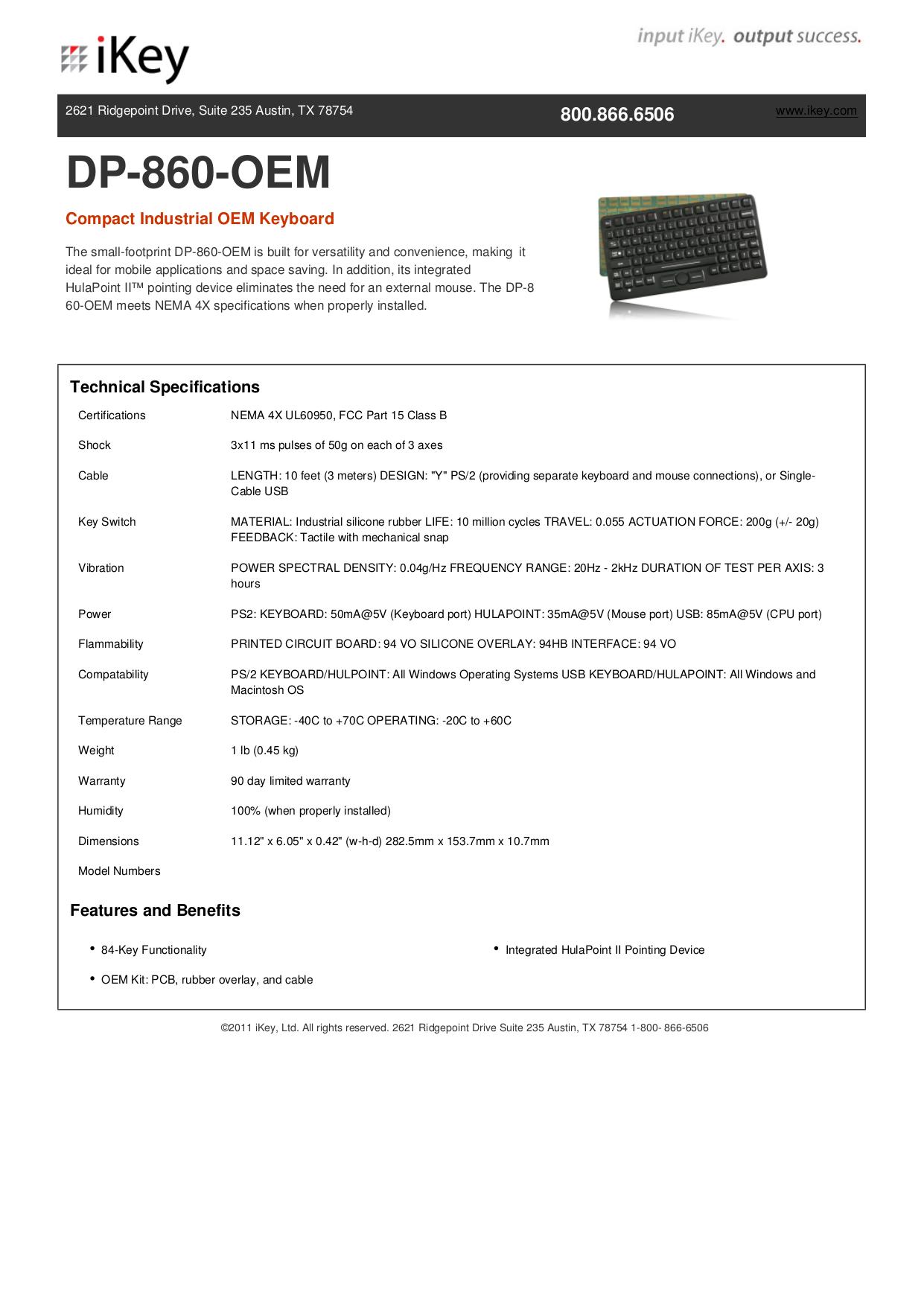 pdf for iKey Keyboard DP-860-OEM manual