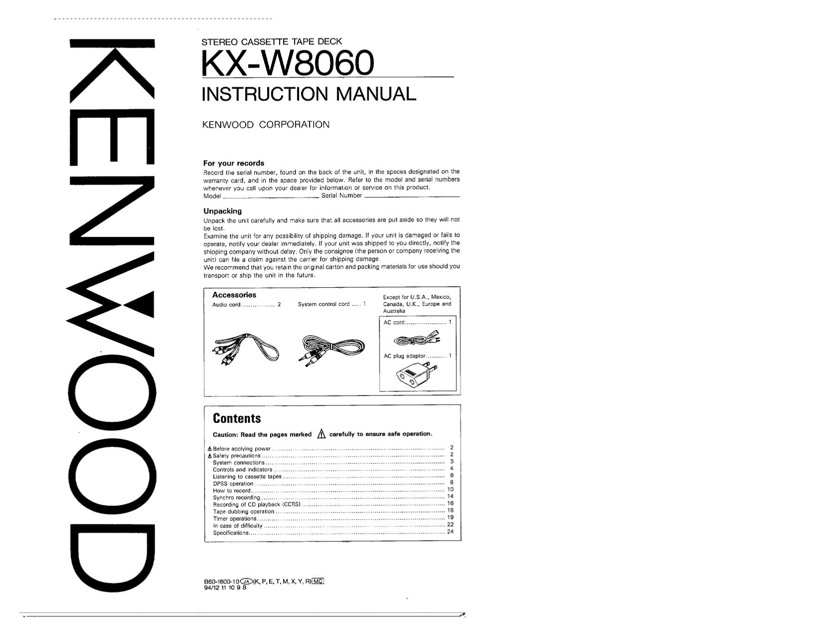 download free pdf for kenwood kx