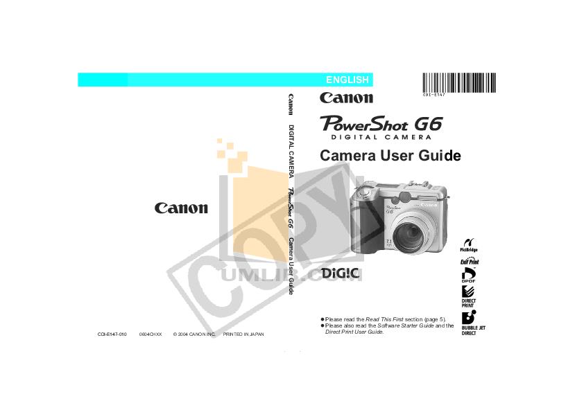 pdf for Canon Digital Camera Powershot G6 manual