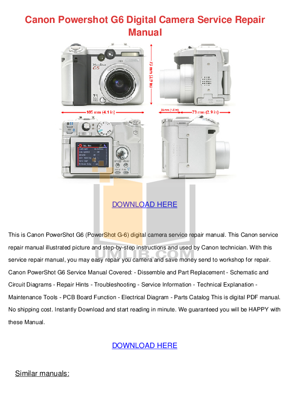 download free pdf for canon powershot g6 digital camera manual rh umlib com Canon G6 Review Canon G6 Military