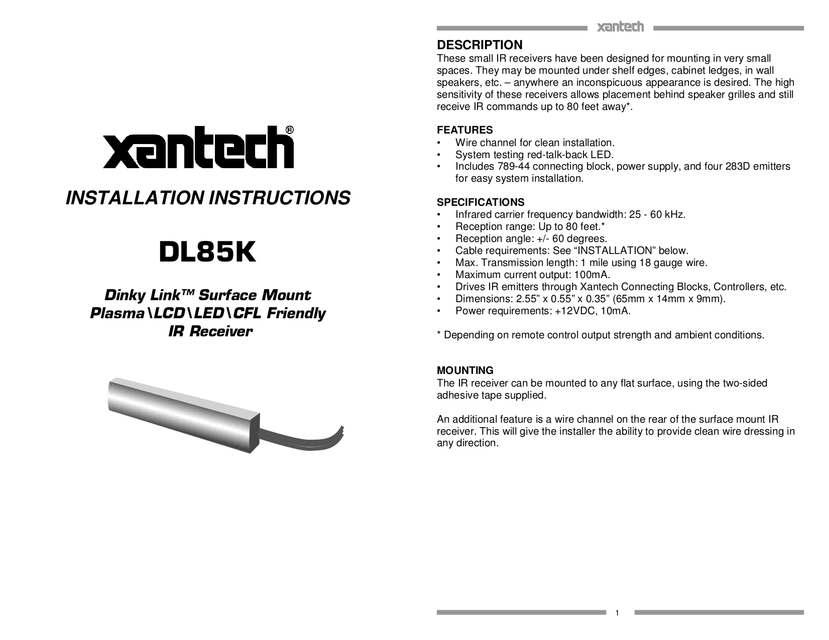 Download free pdf for Xantech BYP94 IR Kit Other manual on