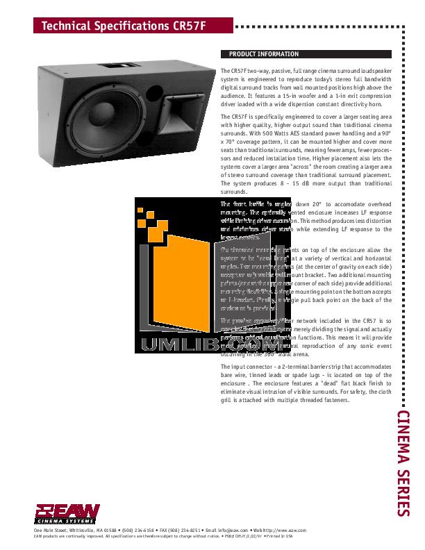 pdf for Eaw Speaker System Cinema CR57 manual