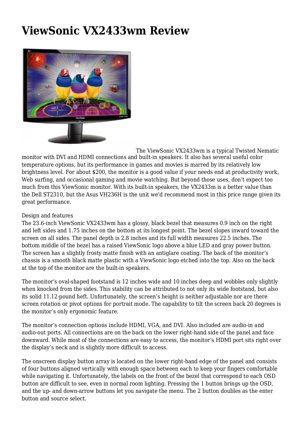 download free pdf for viewsonic vx2433wm monitor manual rh umlib com viewsonic vx2433wm manual 2009 viewsonic vx2433wm manual 2009