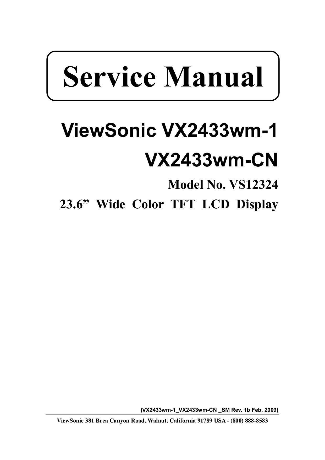download free pdf for viewsonic vx2433wm monitor manual rh umlib com viewsonic vx2433wm specs viewsonic vx2433wm service manual