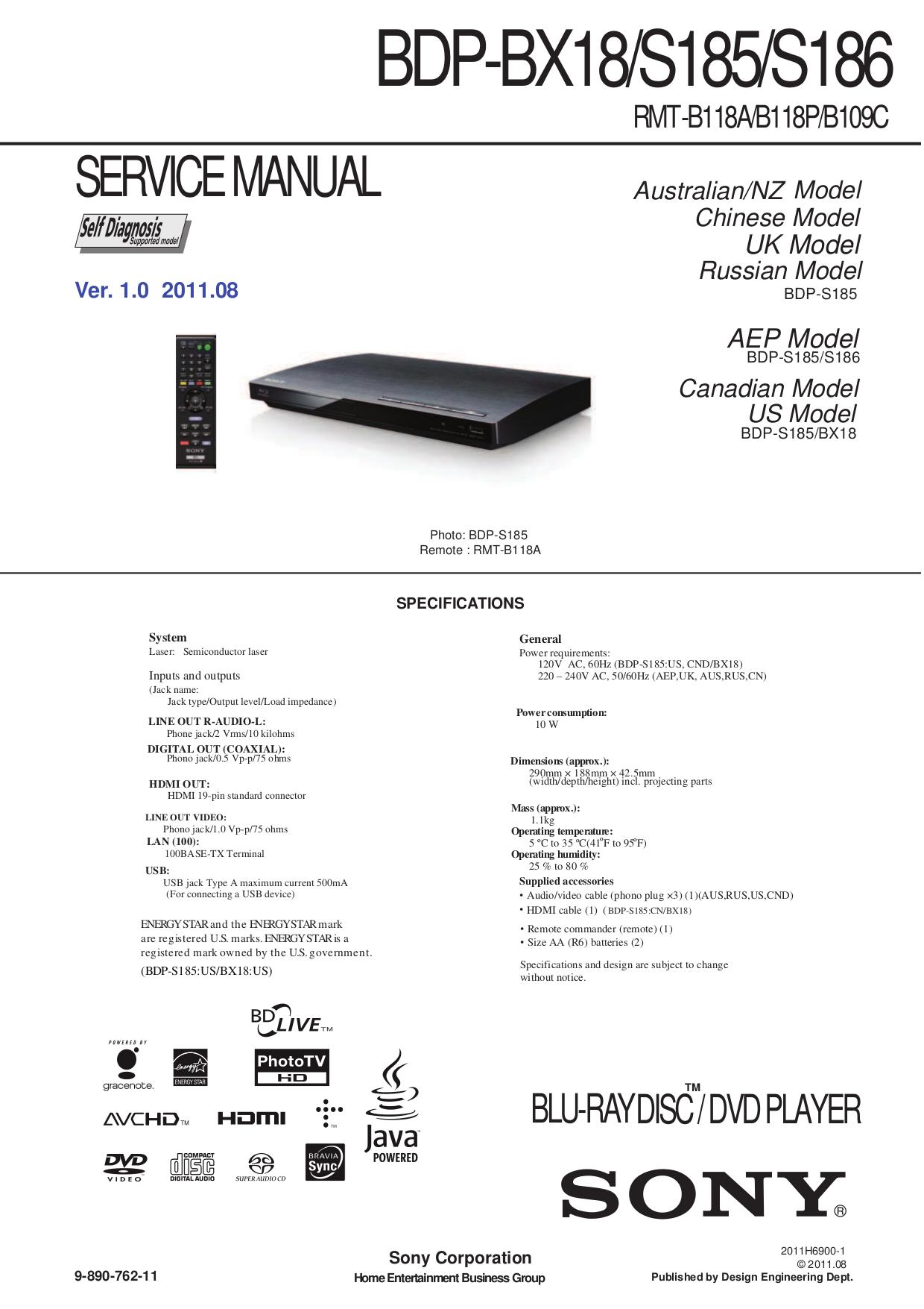 sony bdp s185 instruction manual