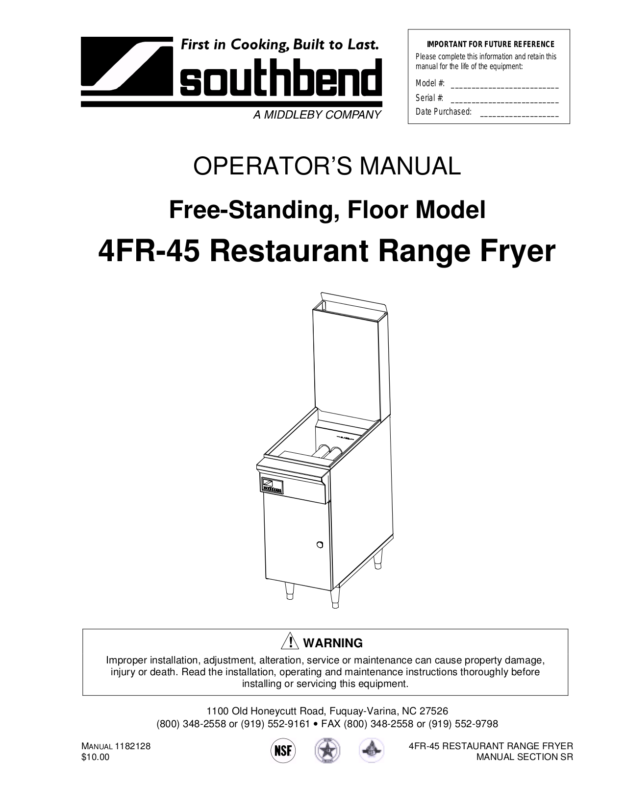 pdf for Southbend Other 4FR-45 Fryers manual