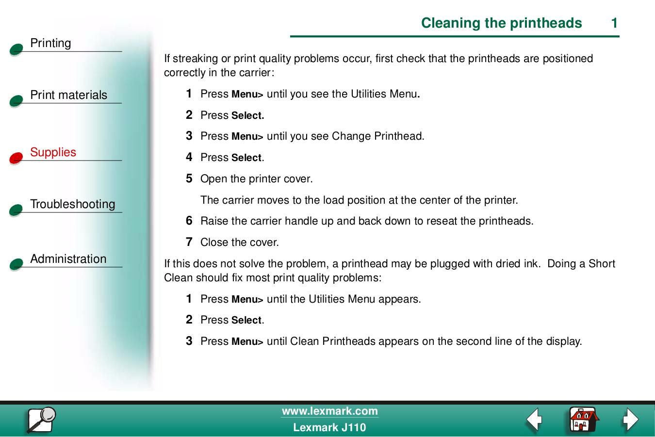 pdf for Lexmark Printer Z730 manual
