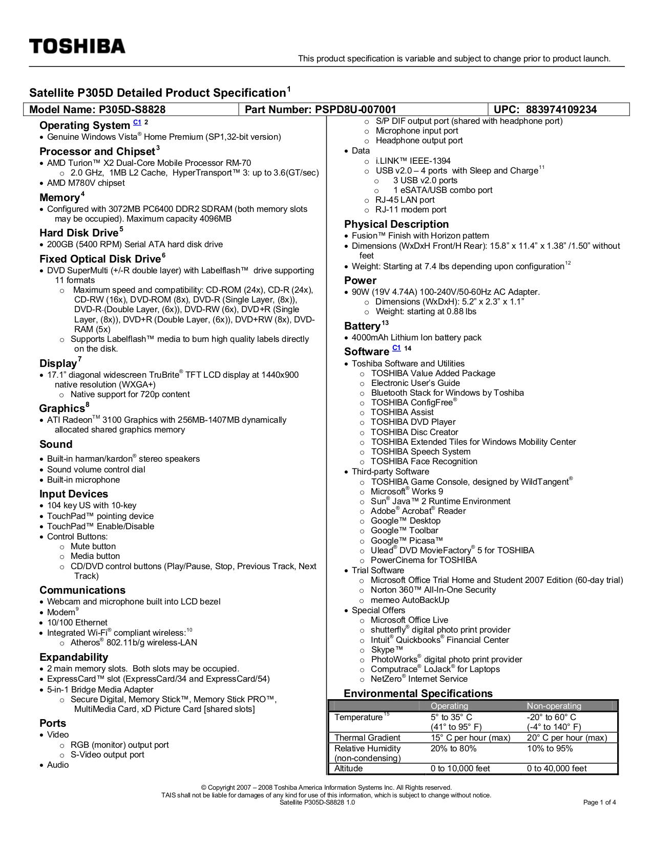 download free pdf for toshiba satellite p305d s8828 laptop manual rh umlib com