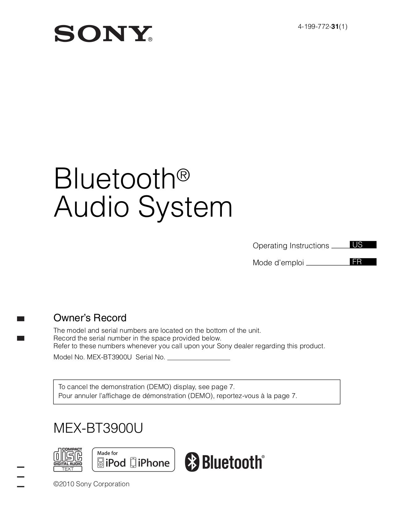 158BT3900U.PDF 0 download free pdf for sony xplod mex bt3900u car receiver manual sony mex bt2700 wiring diagram at gsmx.co