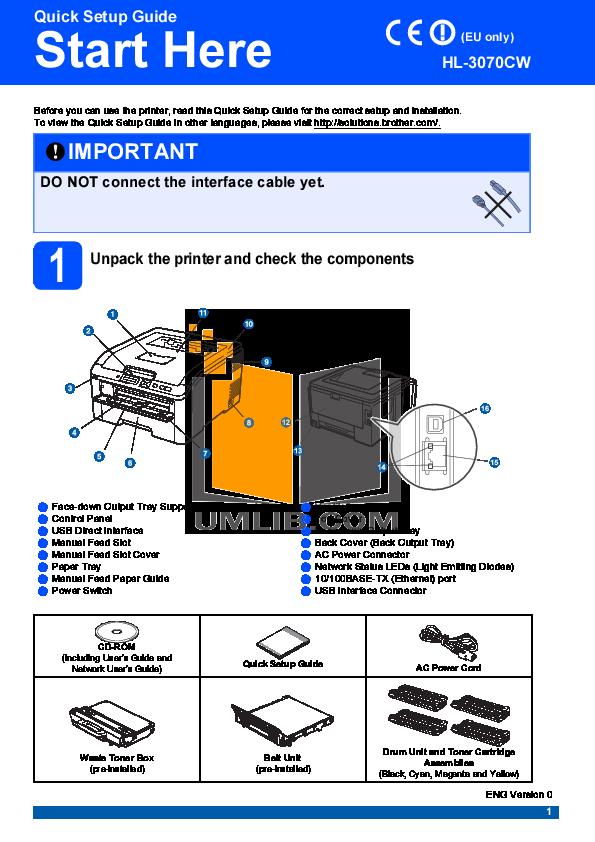 pdf for Brother Printer HL-3070CW manual