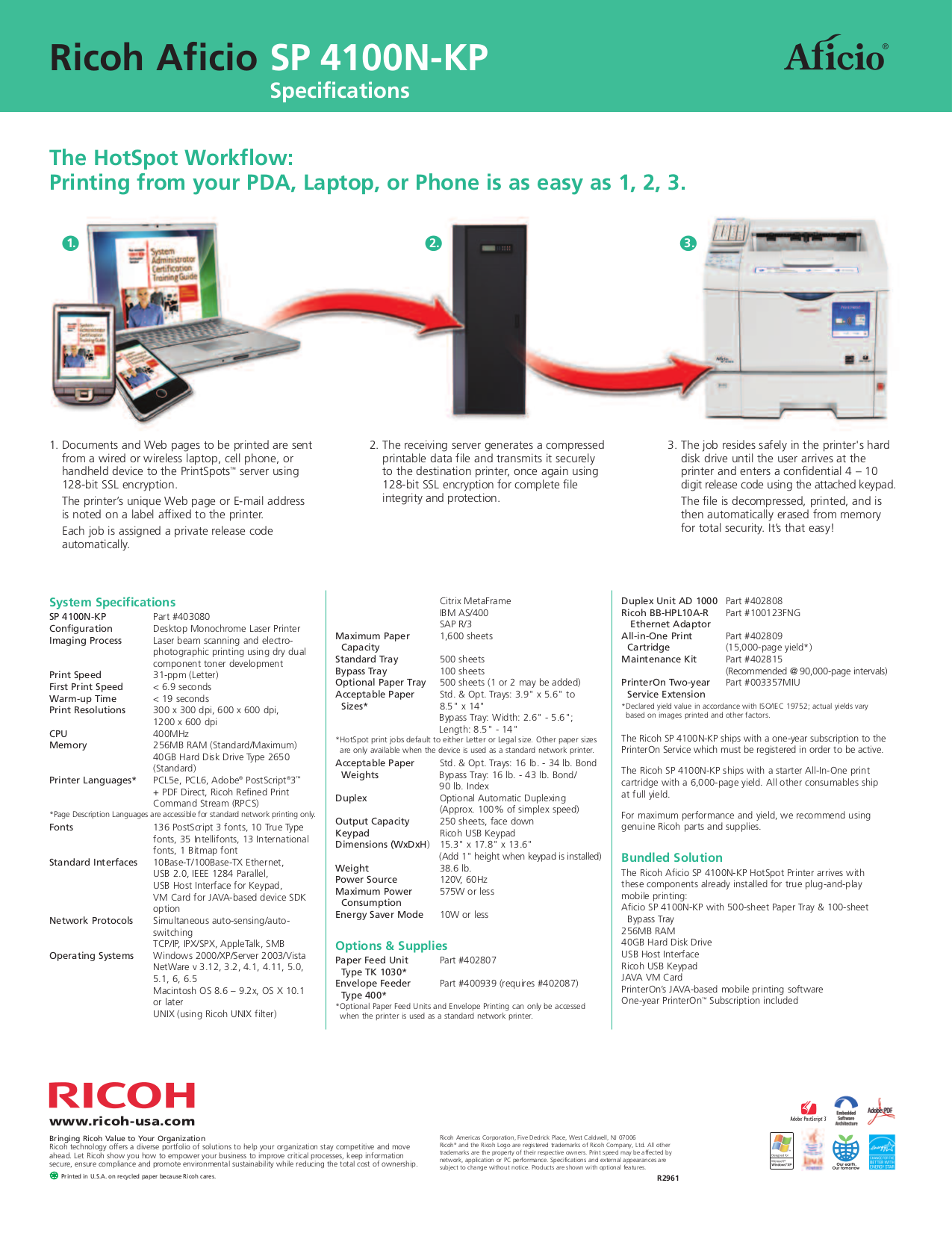 PDF manual for Ricoh Printer Aficio SP 4100N