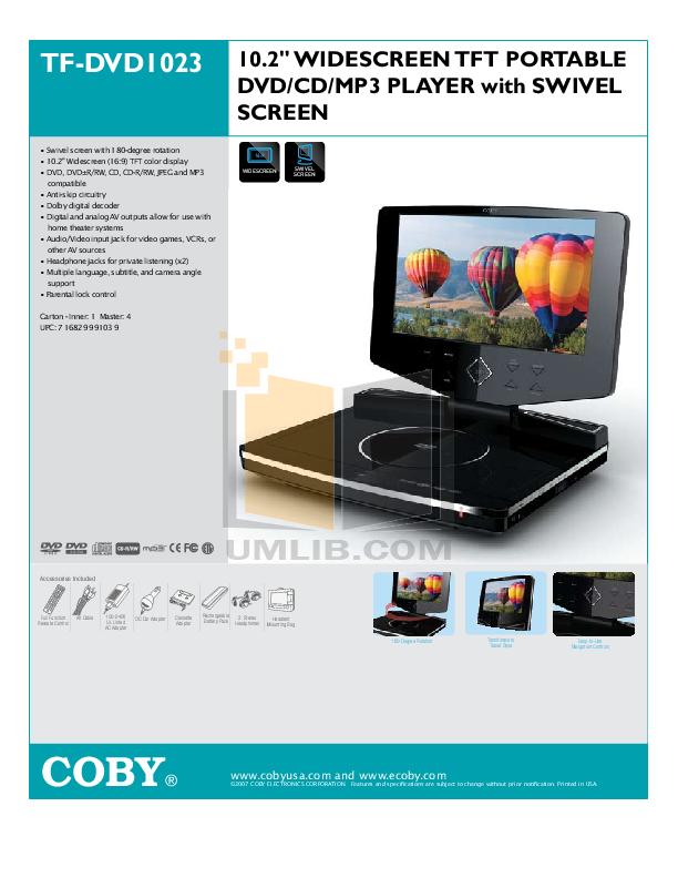 download free pdf for coby tf dvd1023 portable dvd player manual rh umlib com Coby DVD Home Theater System coby portable dvd player tf-dvd7005 manual