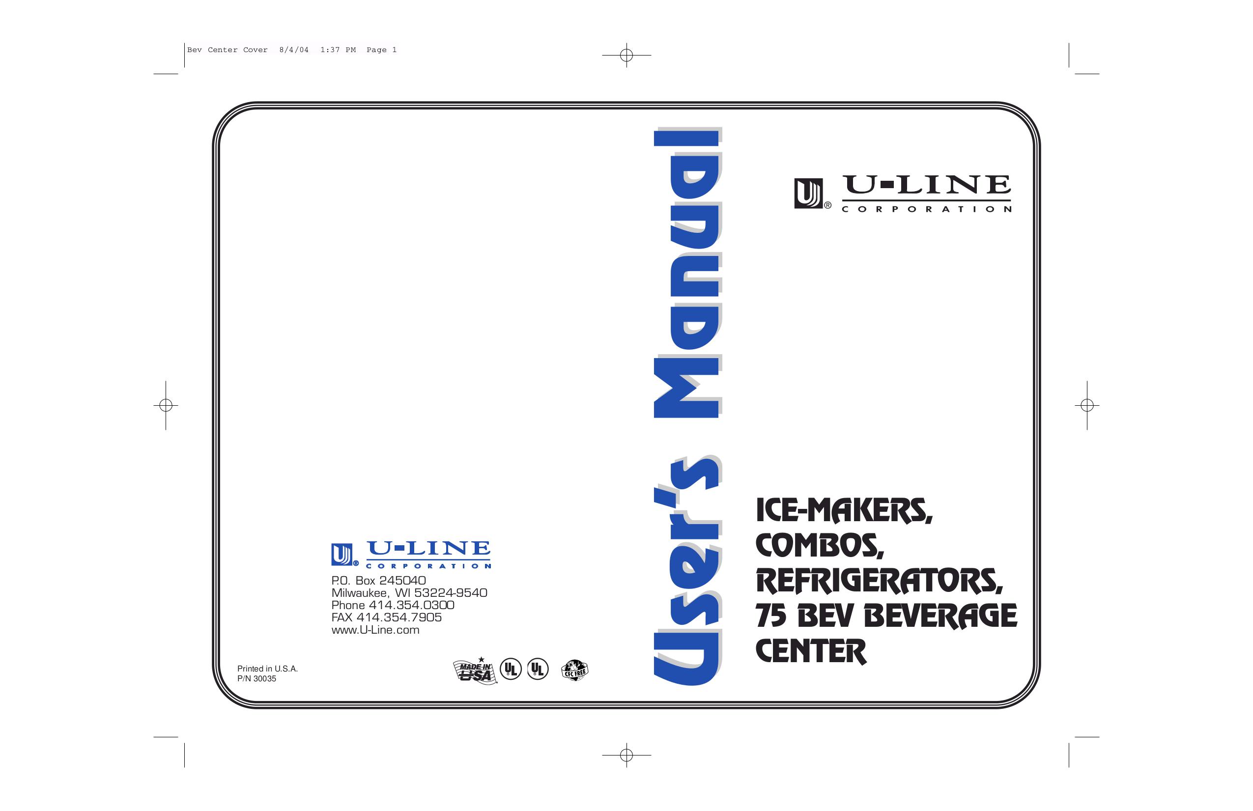 pdf for U-Line Refrigerator Origins 75R manual