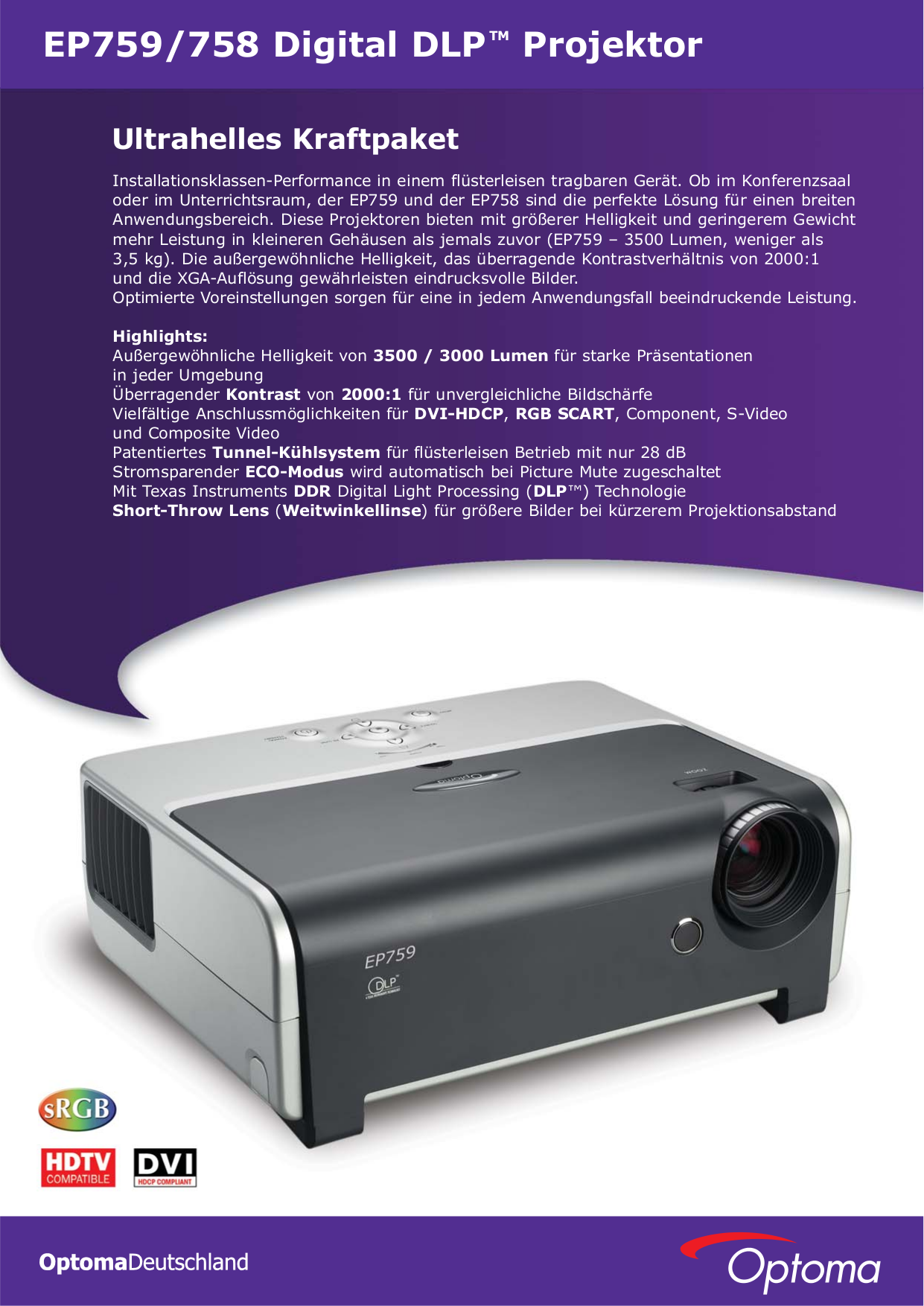 pdf for Optoma Projector EP759 manual