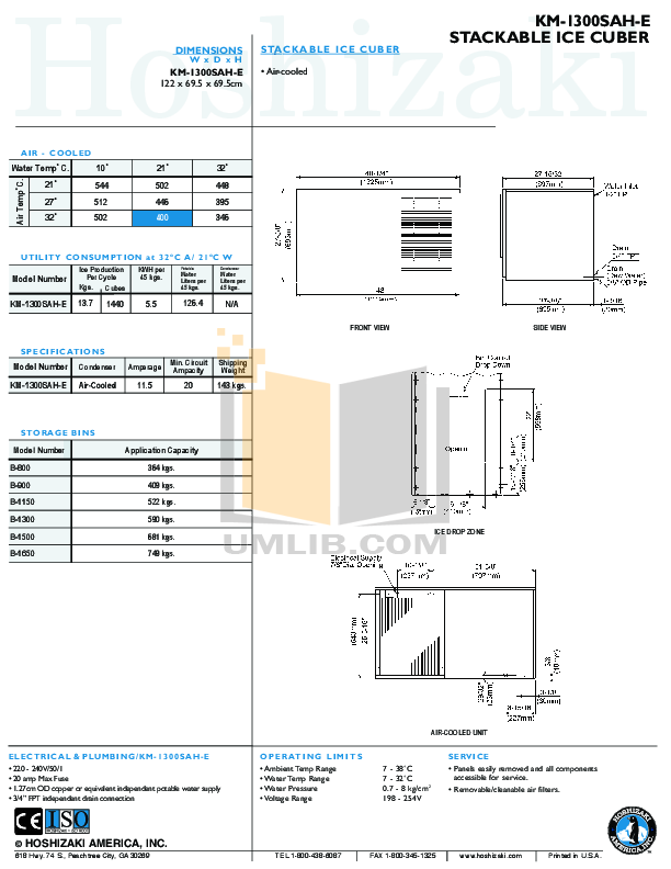 Hoshizaki Other KM-1300SAH Cuber Machines pdf page preview