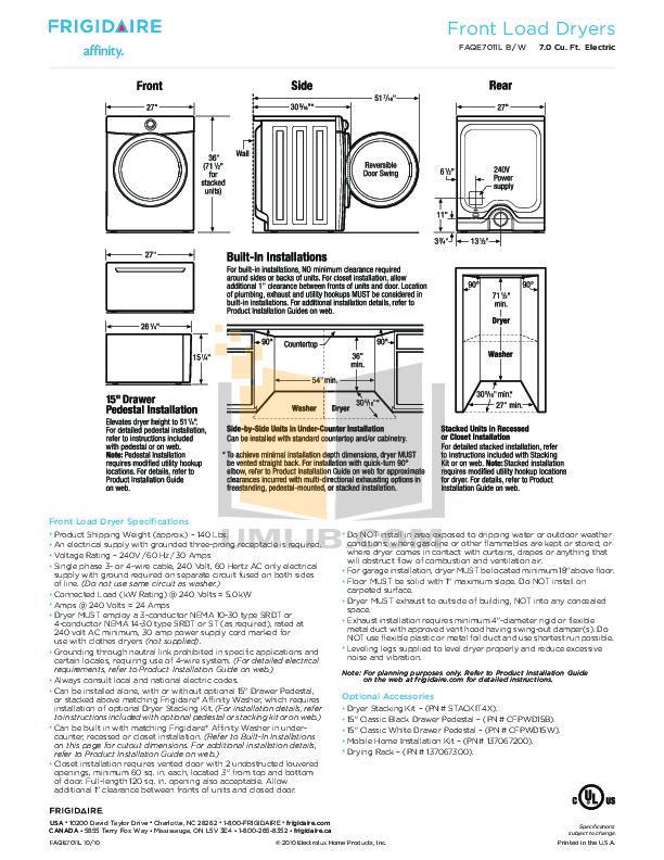 Frigidaire Dryer Affinity FAQE7011L pdf page preview