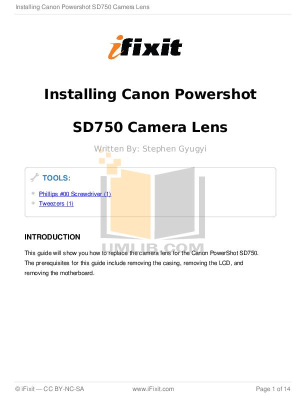 pdf for Canon Digital Camera Powershot SD750 manual
