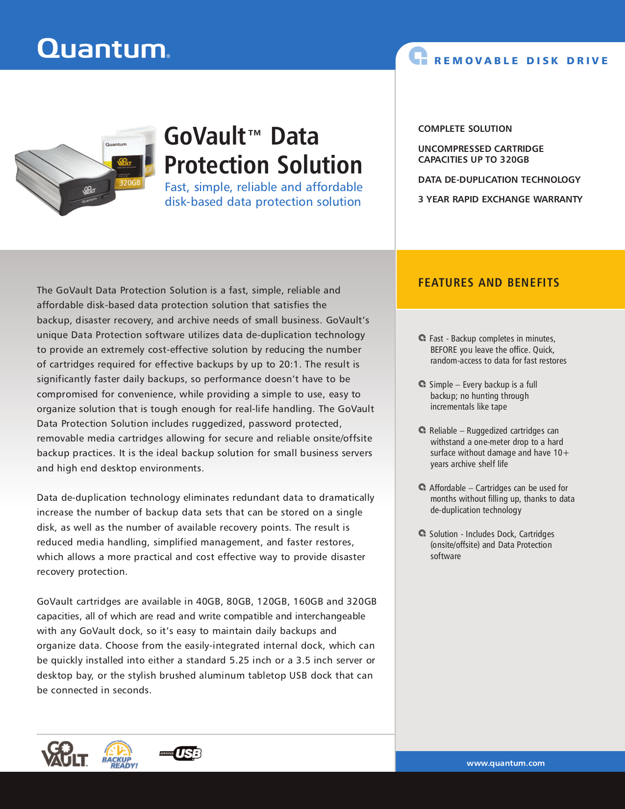 pdf for Quantum Storage GoVault 40GB manual