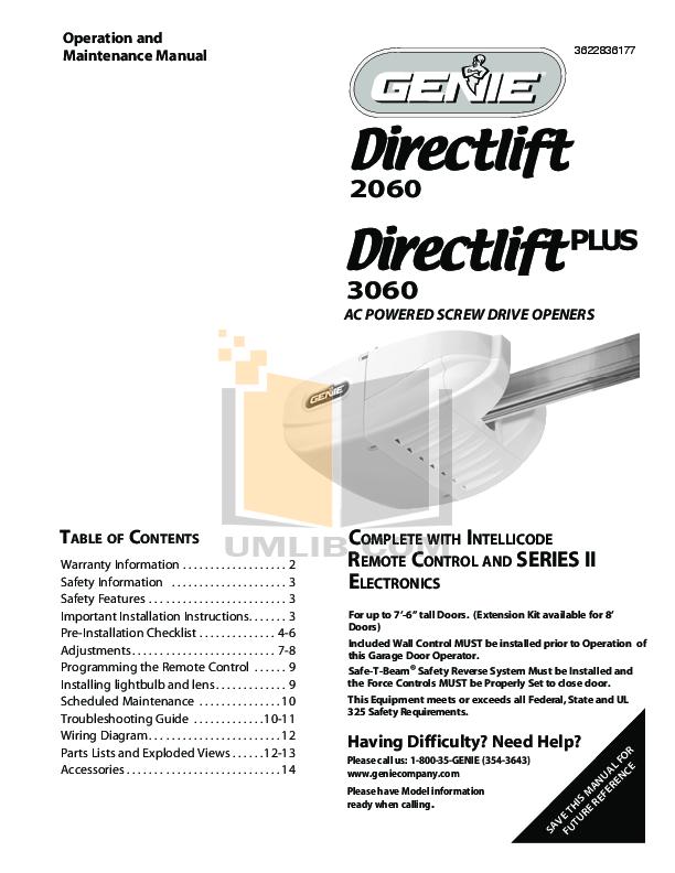 download free pdf for genie promax garage door opener