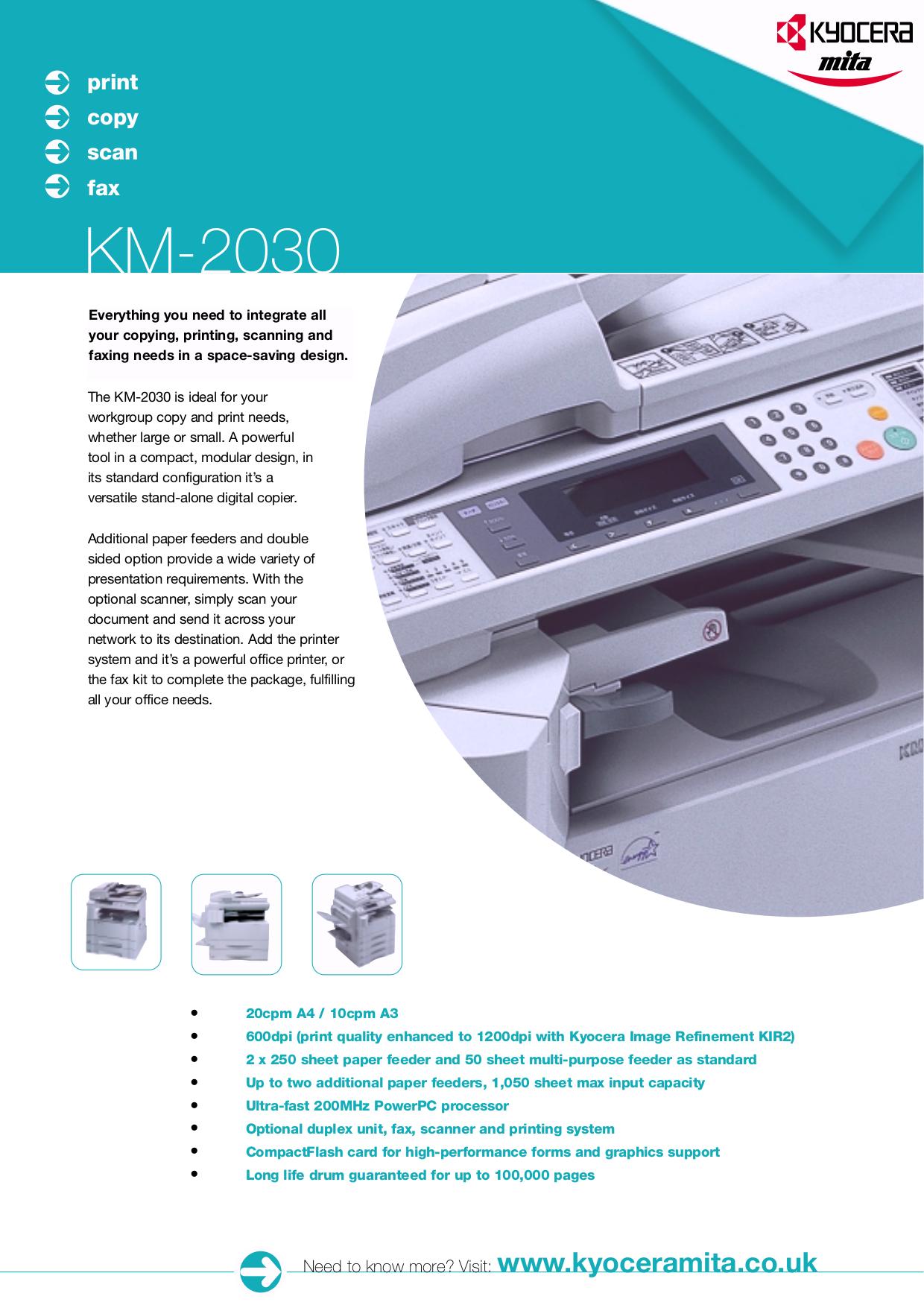 Download free pdf for Kyocera KM-C2030 Printer manual