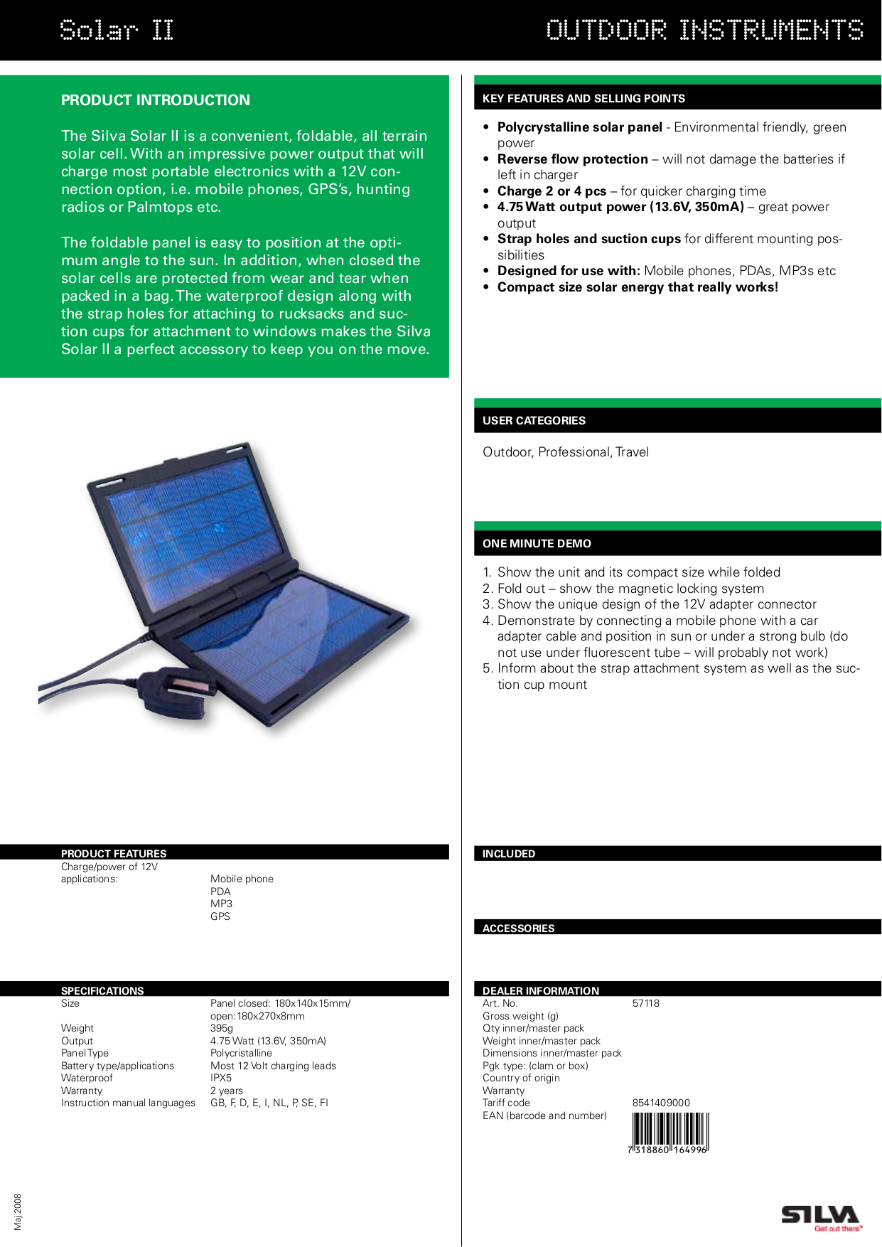 pdf for Silva Other Solar II Chargers manual