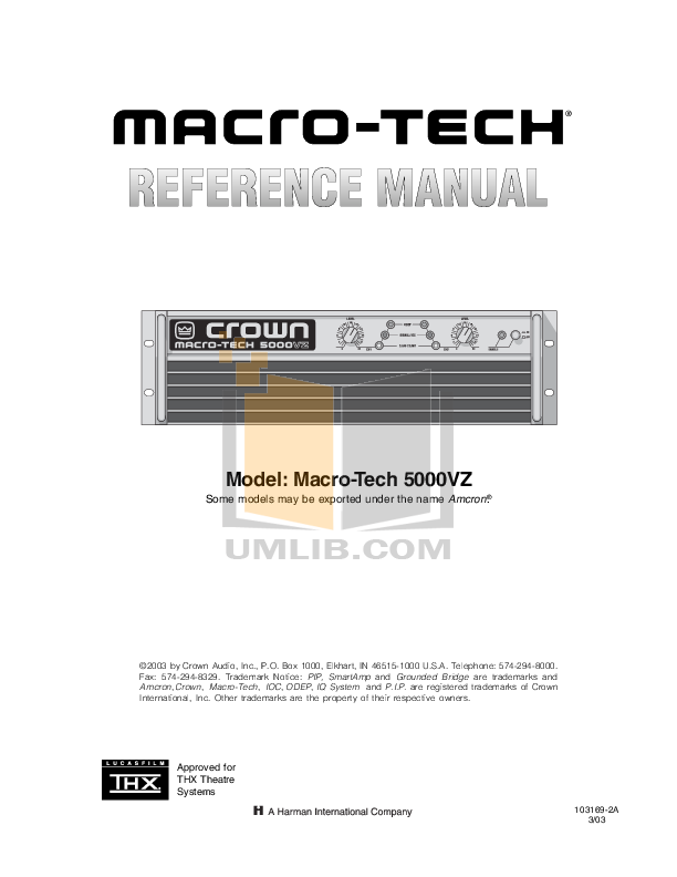 pdf for Crown Other PIP-AF Input Processors manual